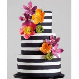 N36 Tort nunta alb si negru cu flori multicolore