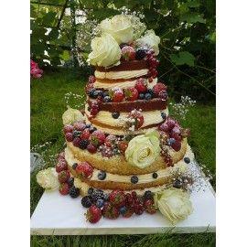 N10 Tort nunta nacked cu flori naturale